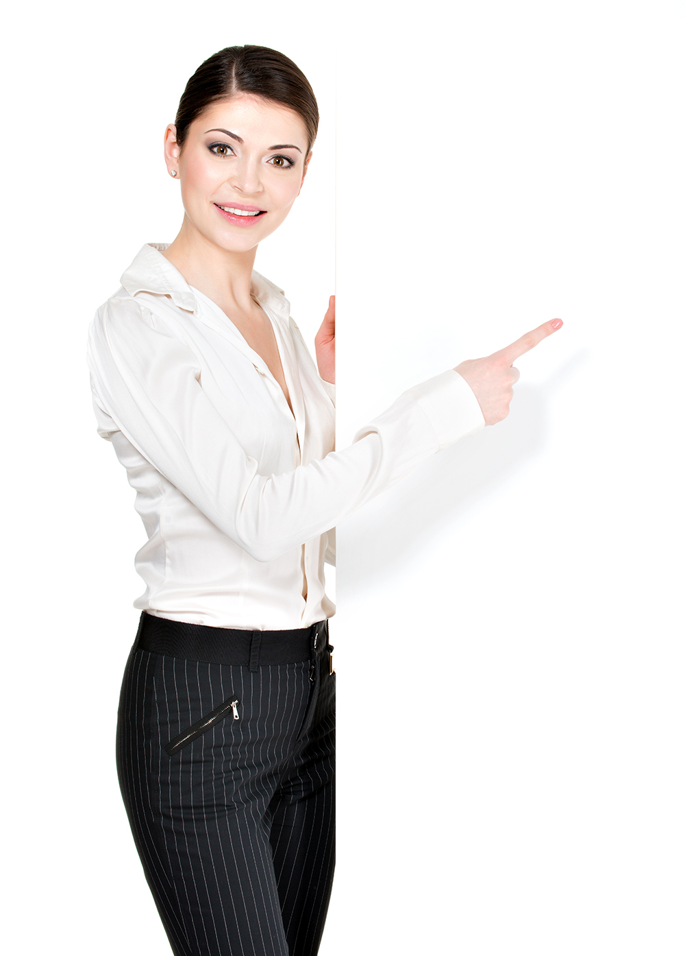 woman points on the white blank banner